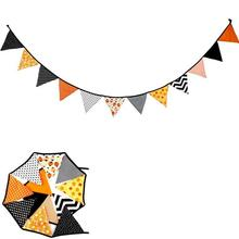 1PC Halloween holiday triangle flag Cotton cloth triangle string flag decoration flag Christmas Festival Party Accessories 2