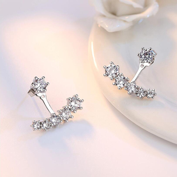 Simple Luxury Silver Color Six Claw Earrings Crystal Zircon Earrings Front Back Double Sided Leaves Stud Earrings For Women image