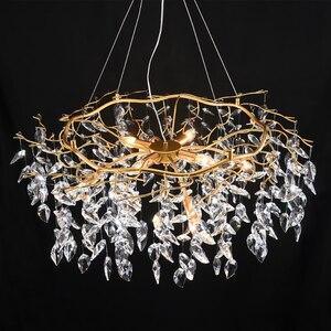 Image 4 - נברשת זוהר קריסטל מנורת זהב סניף מנורת lamparas modernas salones מלון grandes מודרני led נברשת