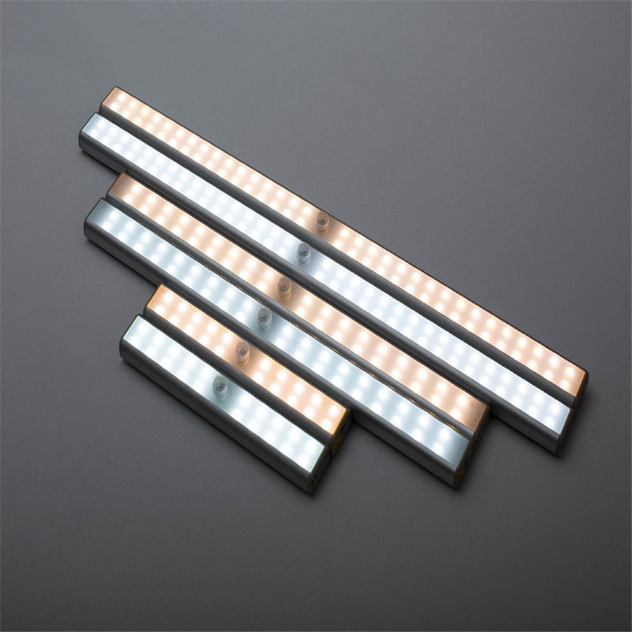 DC5V USB Rechargeable PIR Motion Sensor LED Under Cabinet Light 20/36/64 Leds Closet Night Light for Wardrobe Cupboard Kitchen