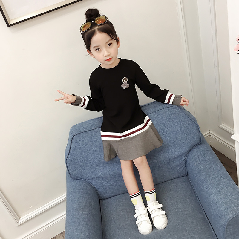Patchwork Girls Casual Dress Kids Clothes For 5 6 7 8 9 10 11 12 13 Years Spring 2018 Teenagers Brand Children Clothing