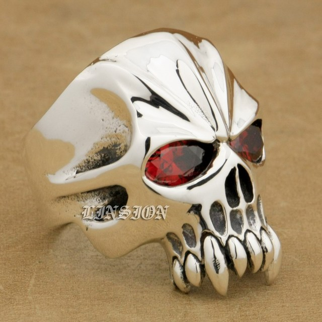 925 Sterling Silver Red CZ Eyes Skull Mens Biker Rocker Ring 9M504A US 8~15