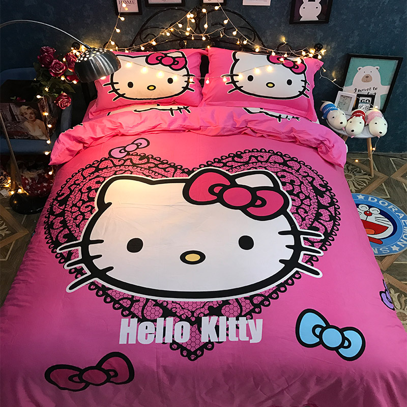 Pink Black princess Hello Kitty Bedding Sets Cotton Bedspreads Girl's Childrens Twin Full Queen Quilt Duvet Cover fitted sheet