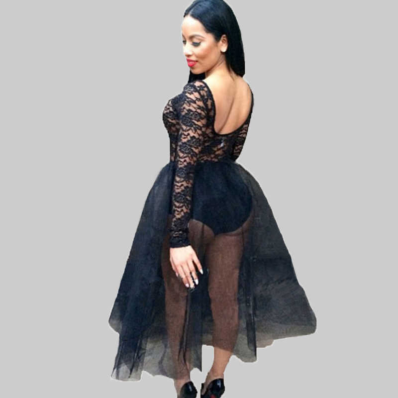 Sexy Women Sheer Lace Dress Mesh Patchwork Elastic Waist A-line Dress  Backless Club Party e57b3de2cba0