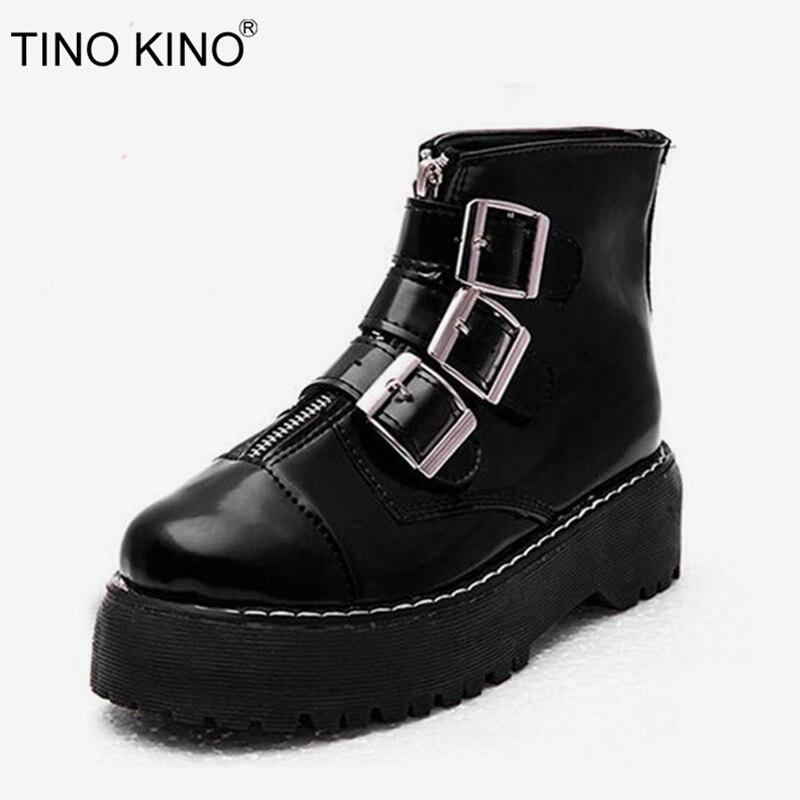 Botas de tobillo de plataforma Punk con correa de hebilla para mujer zapatos de moda de otoño para mujer botas de motocicleta con cremallera de charol tacones gruesos para mujer