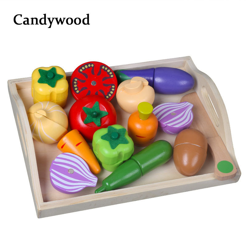 Mother garden Simulation food Cutting Vegetable and fruit Wooden Kitchen Toys for baby kids Educational Pretend Play Toy