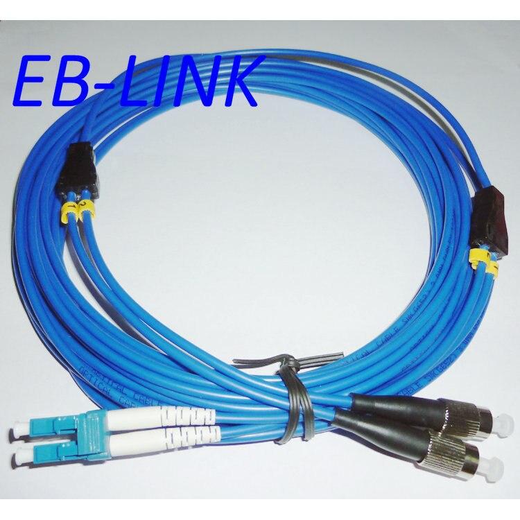 Крытый бронированный 15 м LC / PC-FC / pc, 3.0 мм, одномодовый 9/125, дуплекс, оптическое волокно патч-корд кабель, LC для фк