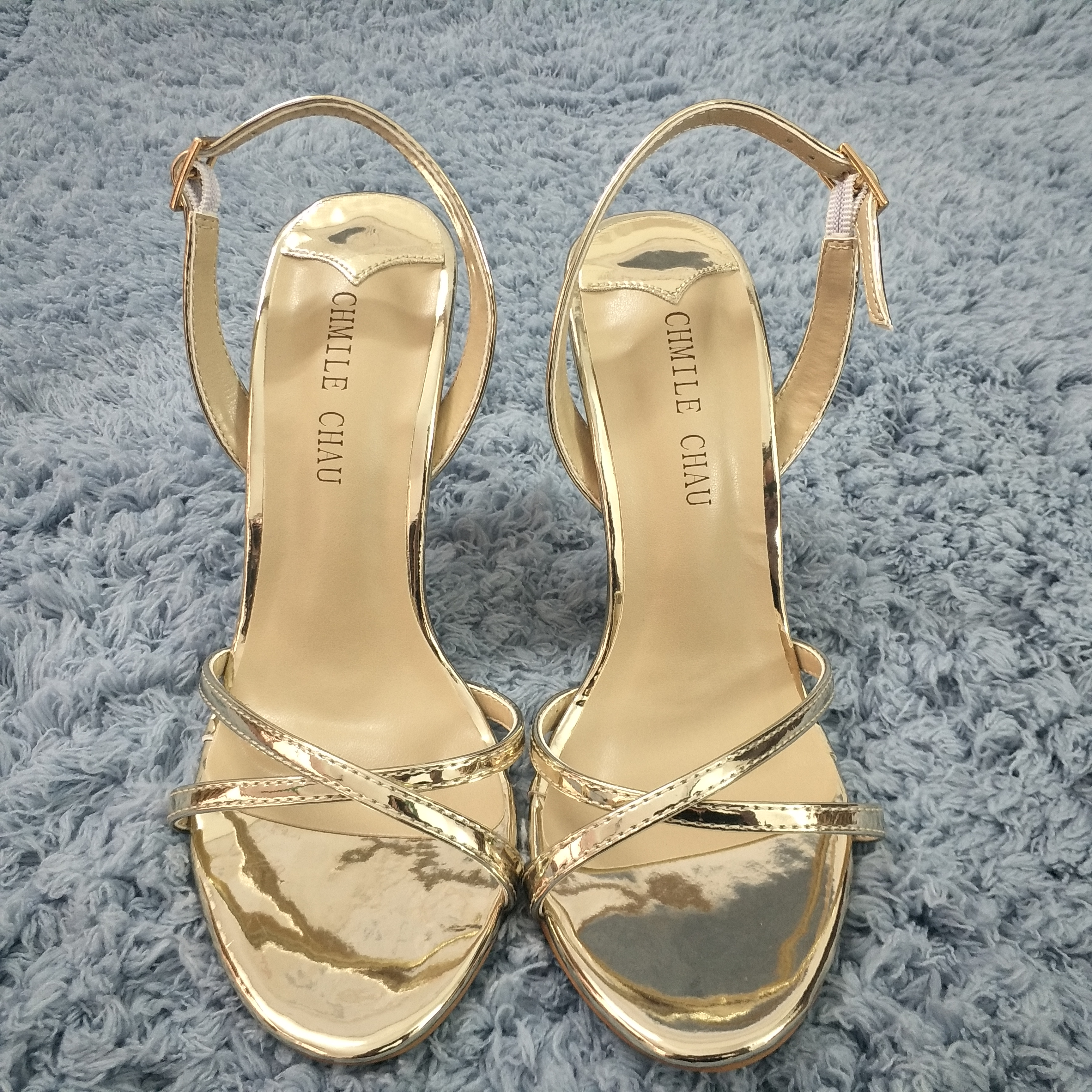 Women Stiletto Thin High Heel Sandal Sexy Sling Back Strap Open Toe Gold Patent Wedding Party Bridals Ball Lady Shoe 158-b