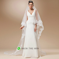 Wedding Veil Lace Cathedral Accessories About 3 M Long Voile Mariage Cotton Cheaps Simple Vail Bride
