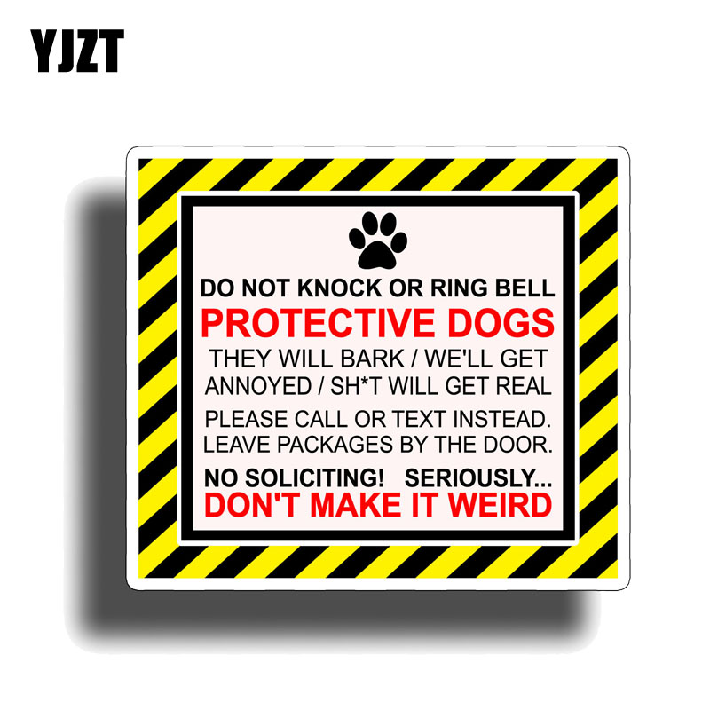 YJZT 13.4CM*11.6CM Warning DO NOT KNOCK OR RING BELL Protective Dog Funny PVC Decal Car Sticker 12-1163