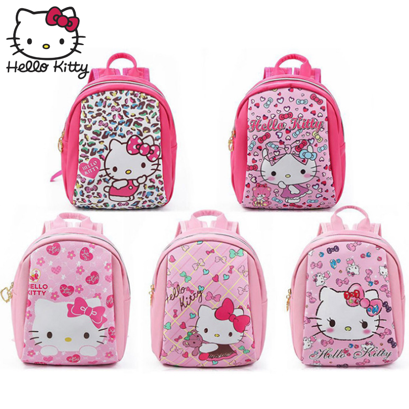 Kawaii Hello Kitty Cartoon Pink Plush Backpack Lovely Cat Children 3D Bag Children Schoolbag Girls Small