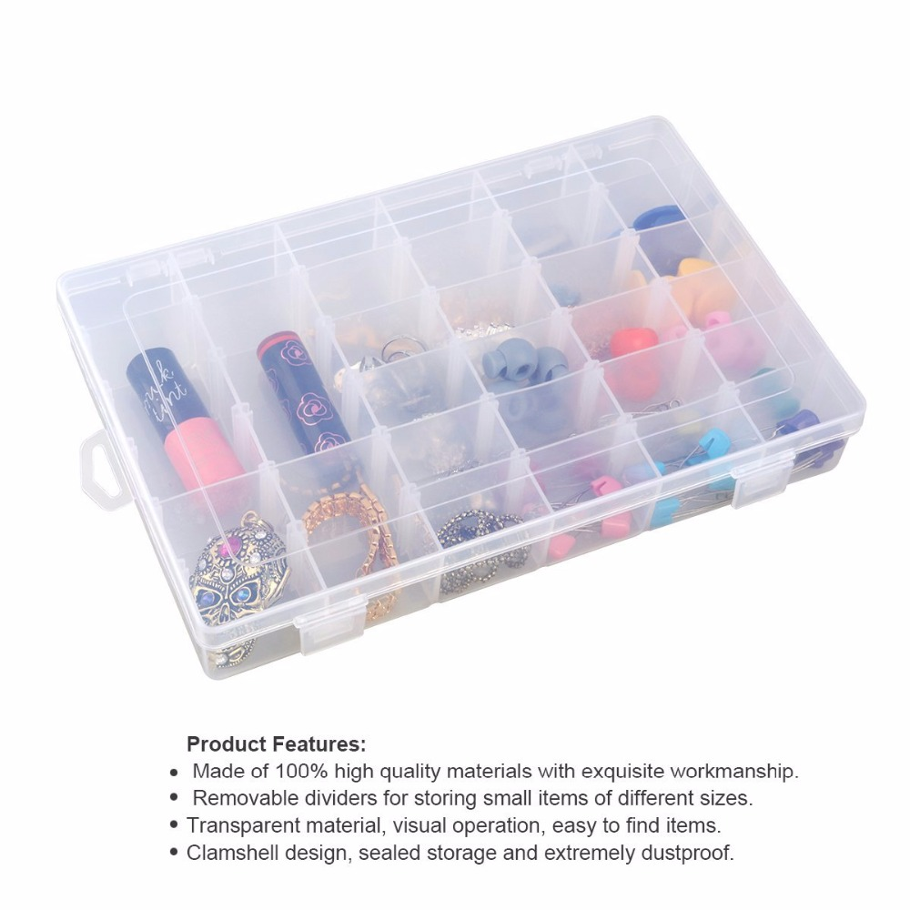 Clear Plastic Jewelry Box Organizer Storage Container Carrying Cases