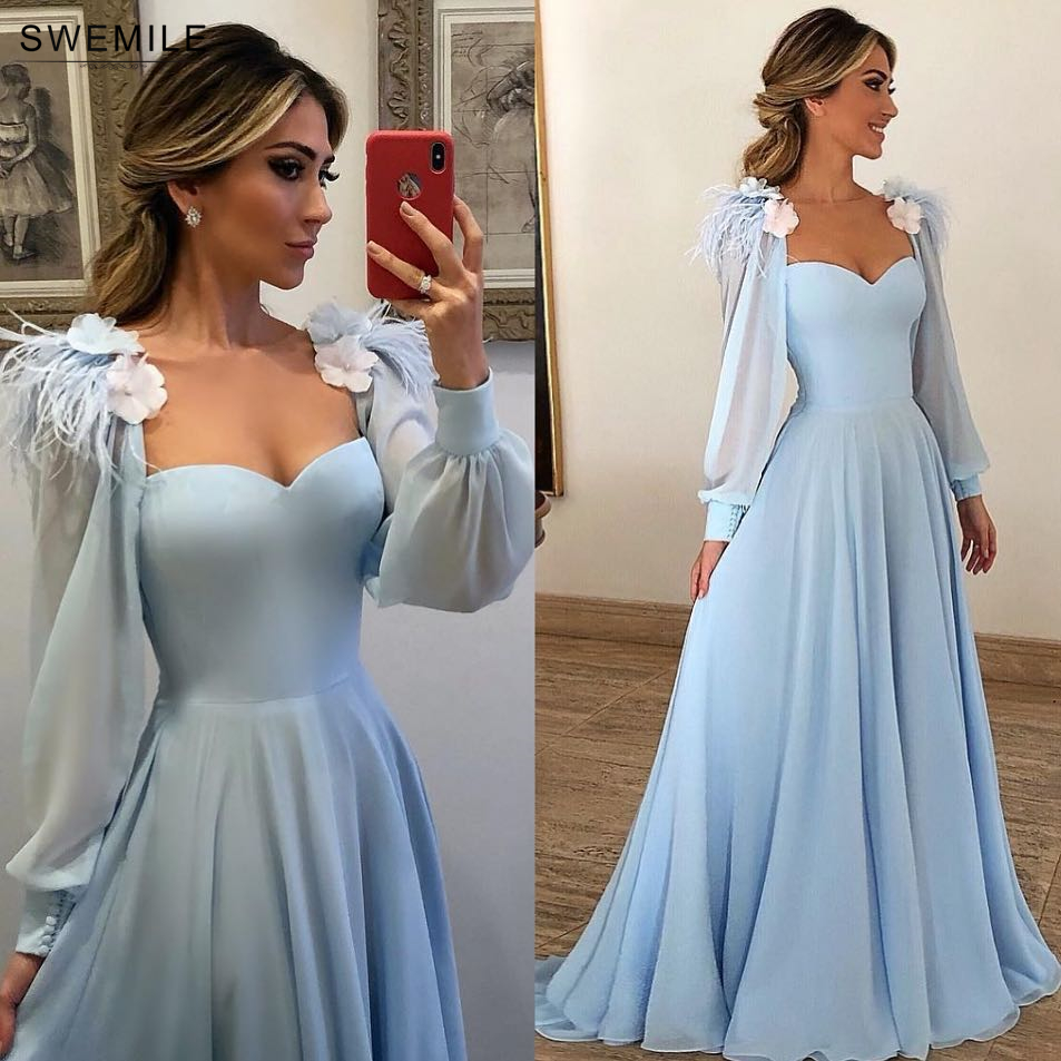 Elegant Strapless Long Chiffon Prom Dresses 2019 Charming Flowers Puff Sleeve Prom Gowns A-Line Party Dresses Vestidos De Gala
