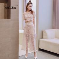 2 Piece Set Summer Women Suit Khaki Short Sleeve Slash Neck Elegant Party Top and Lace Casual Ankle length Vintage Club Pants