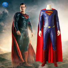 цена на Superman Cosplay Costume Movie Justice League Superhero  Halloween  Custom Made High Quality Leather Cloak