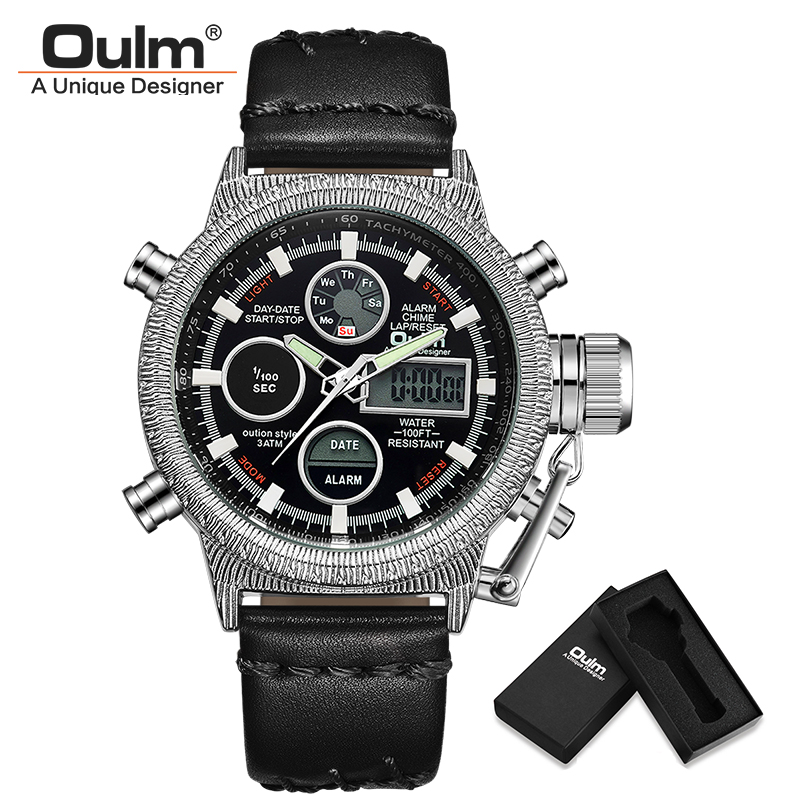 все цены на Oulm Watches NEW Men Watches Top Brand Military Quartz Watch Leather Strap Double Display Male Wristwatch Relogio Masculino онлайн