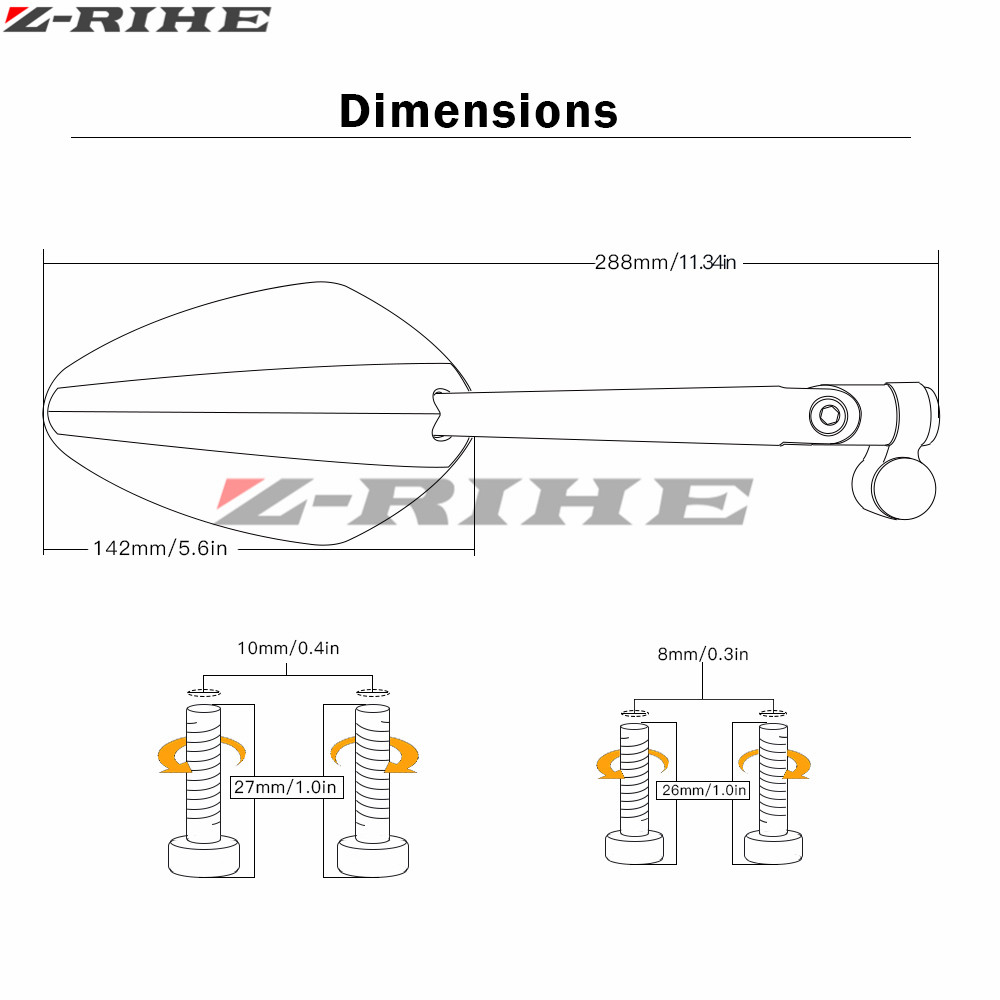 Motorcycle Side Mirror Aluminium Cnc Rearview For Honda Veloce Sport Diagram Kawasaki Z750 Suzuki Katana Hyosung Gt250r Bmw R1200gs Ktm In Mirrors