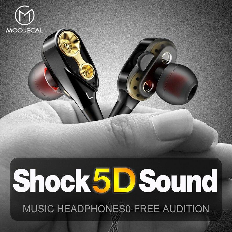MOOJECAL Dual Driver Earphones In-Ear Stereo Bass Earphones Sport Running HIFI Earbuds For Xiaomi Fone De Ouvido Auriculares Mp3