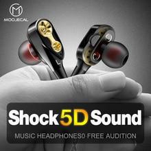 MOOJECAL Dual Driver Earphones In-Ear Stereo Bass earphones Sport Running HIFI Earbuds