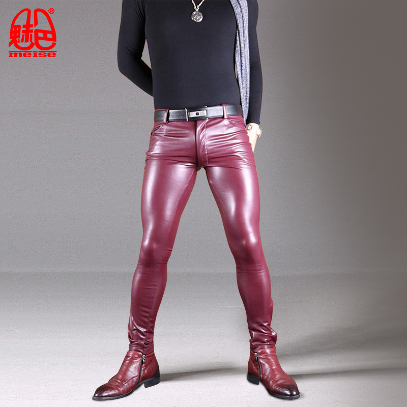 Sexy Men Long Tights Leather Pants Male High Elastic Pu Imitation Sheepskin Locomotive Boot Pants Leg Pencil Tight Casual Pants