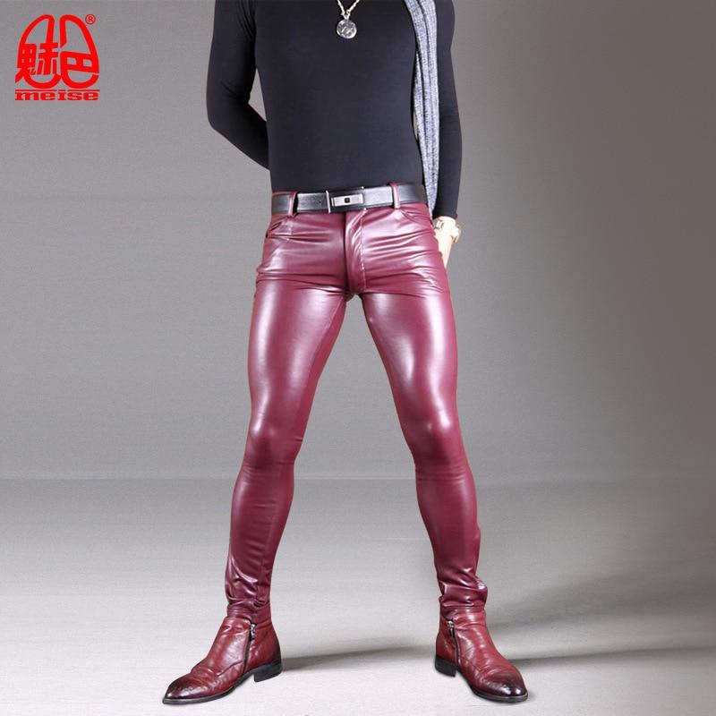 Sexy Men Long Tights Leather Pants Male High Elastic Pu Imitation Sheepskin Locomotive Boot Pants Leg Pencil Tight Casual Pants
