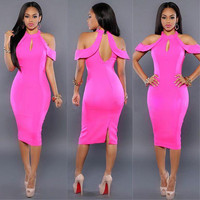 new fashion sexy women hollow out solid midi dress off the shoulder halter sheath womens clothing elegant bodycon dresses AT034