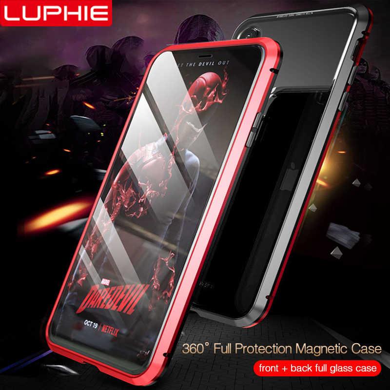 LUPHIE 360 درجة كامل المغناطيسي حقيبة لهاتف أي فون X XS ماكس XR 8 7 Plus غطاء الجبهة الخلفي الزجاج حقيبة لهاتف أي فون 7 8 X XS المغناطيس