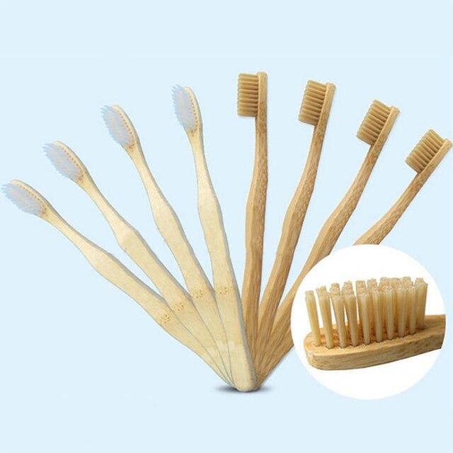 Cepillo de dientes de madera para el Medio Ambiente de 12 piezas, cepillo de dientes de bambú, mango de madera de fibra de bambú para envío directo