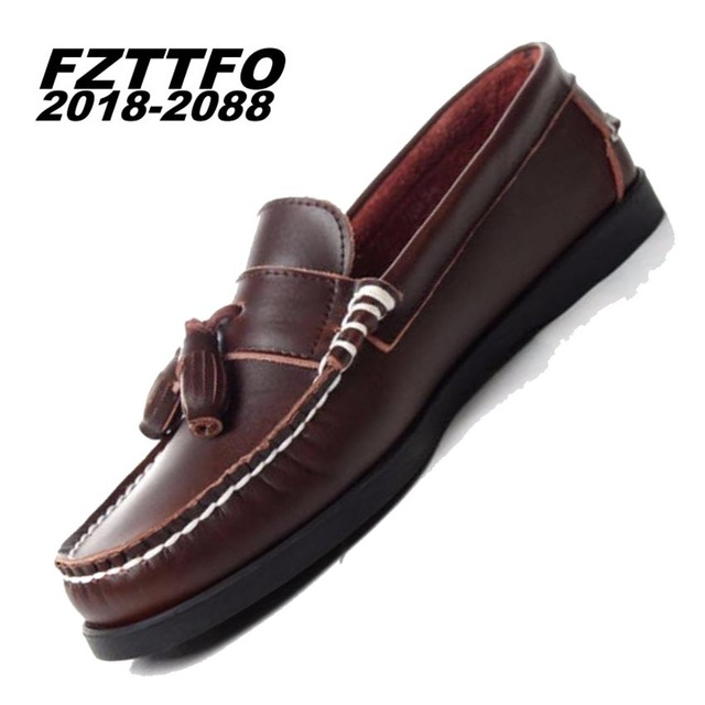 38-46 Genuine leather men loafers Top quality comfortable handsome brand men flats Boat shoes K356
