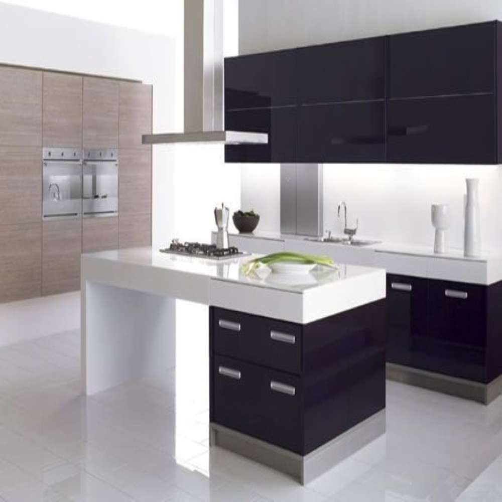 High Gloss Kitchen Cabinets: Modern Elegant Black High Gloss Simple Style Wooden