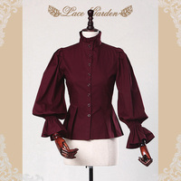 Branded Women S Vintage Style Blouse Long Lantern Sleeve Stand Collar Cotton Shirt