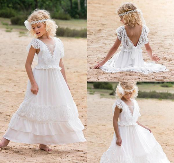 Flower Girl Beach Wedding Dresses: With Lace Chiffon Beach Flower Girl Dresses A Line V Neck