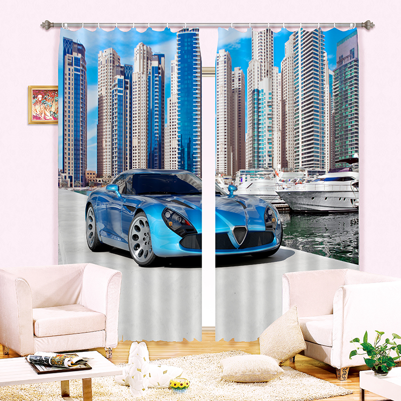 Blackout Kitchen Curtains Polyester Valance Tiers 3: New Cartoon 3D Blackout Curtains Luxury Sports Car Pattern