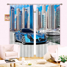 New Cartoon 3D Blackout Curtains Luxury sports Car Pattern Fabric Children Bedroom Curtains kitchen curtains for