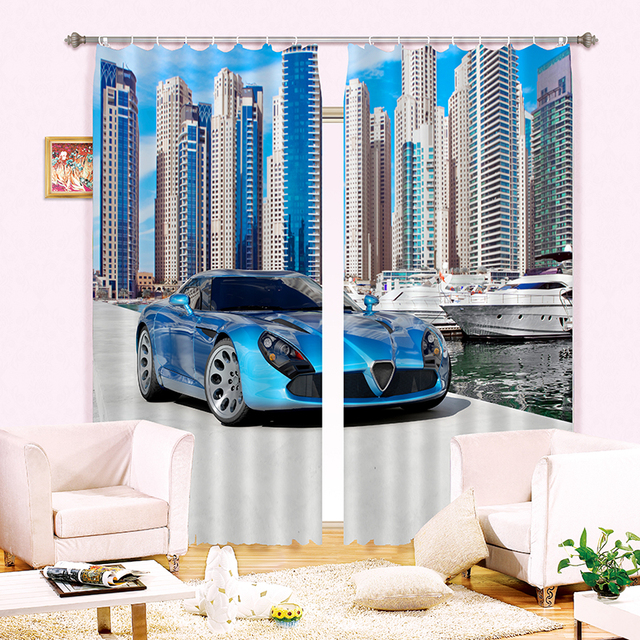 Superbe New Cartoon 3D Blackout Curtains Luxury Sports Car Pattern Fabric Children  Bedroom Curtains Kitchen Curtains For