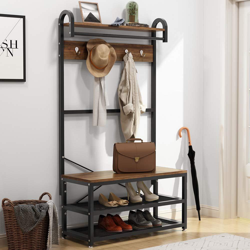 Industrial Iron Metal Wood Wall Shelves Shelf Storage Hanging Rack Home Hallway