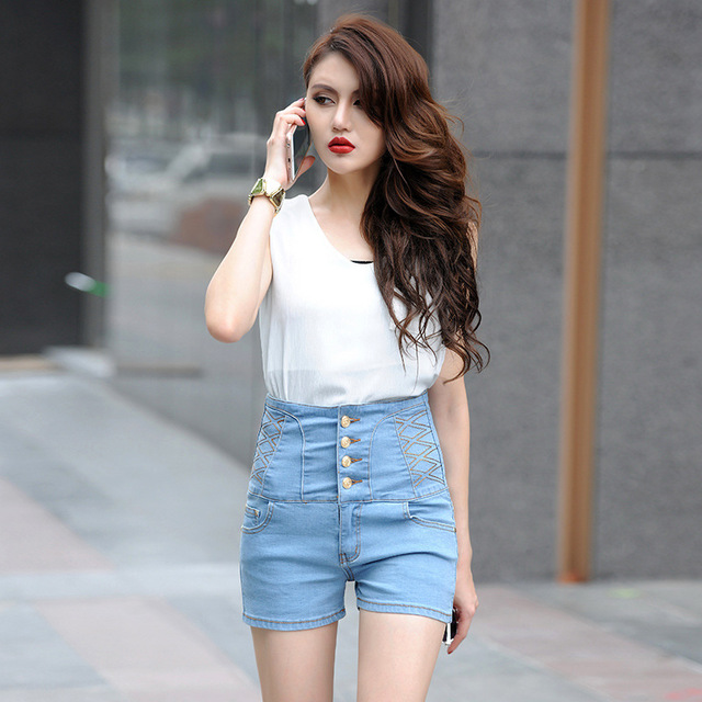 Women's European and American style high waist denim shorts Button, washed extra large size cotton thin waist shorts