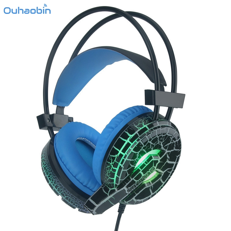 Ouhaobin Popular Professional Gaming Headphone LED Light Earphone Headset with Microphone H6 Headphones For Game Playing Sep13 g1100 3 5mm pro gaming headset headphone for ps4 laptop crack pattern led led blue black red white