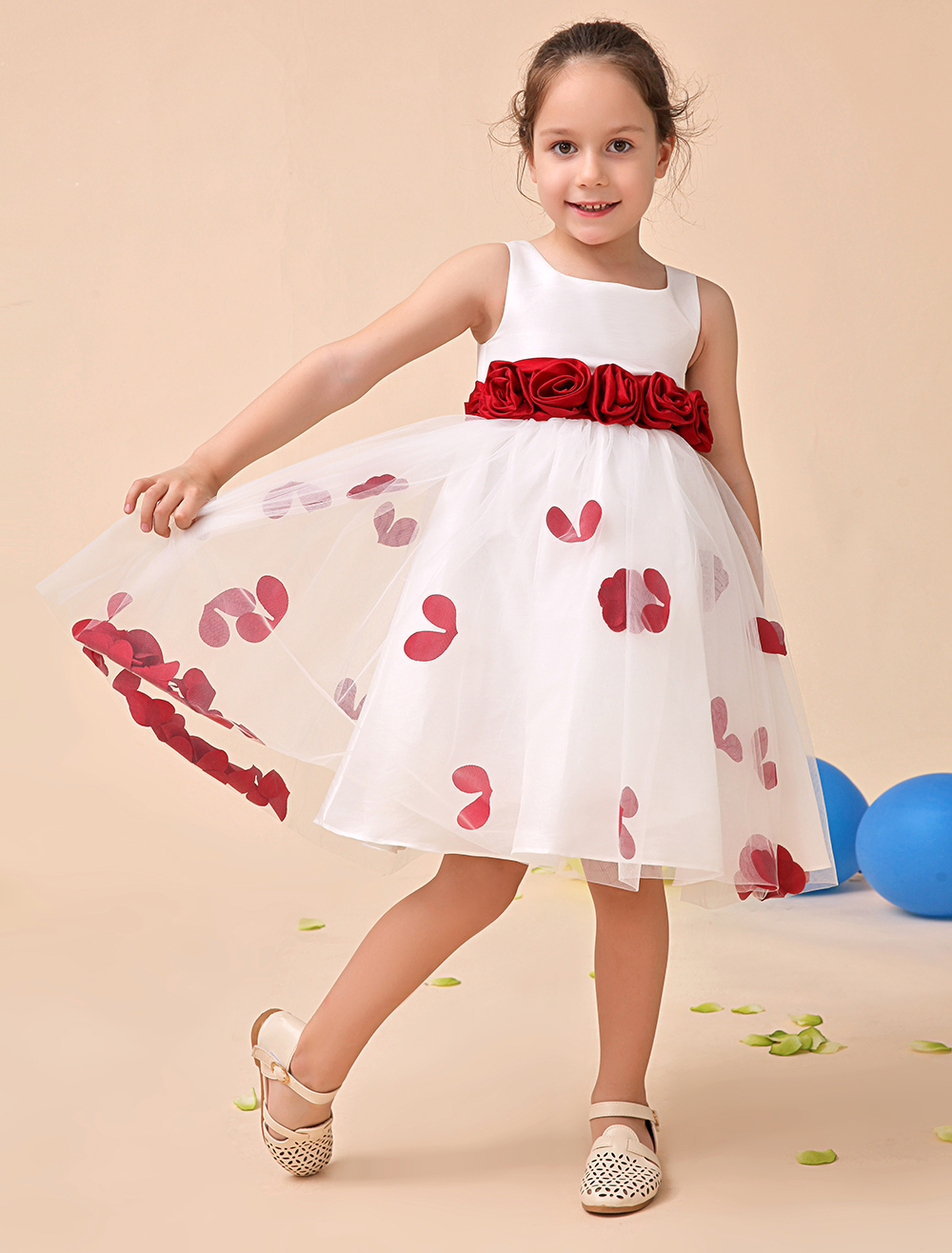 Tulle A line ivory little Girls Dresses with wine red sash wedding party kids girls formal
