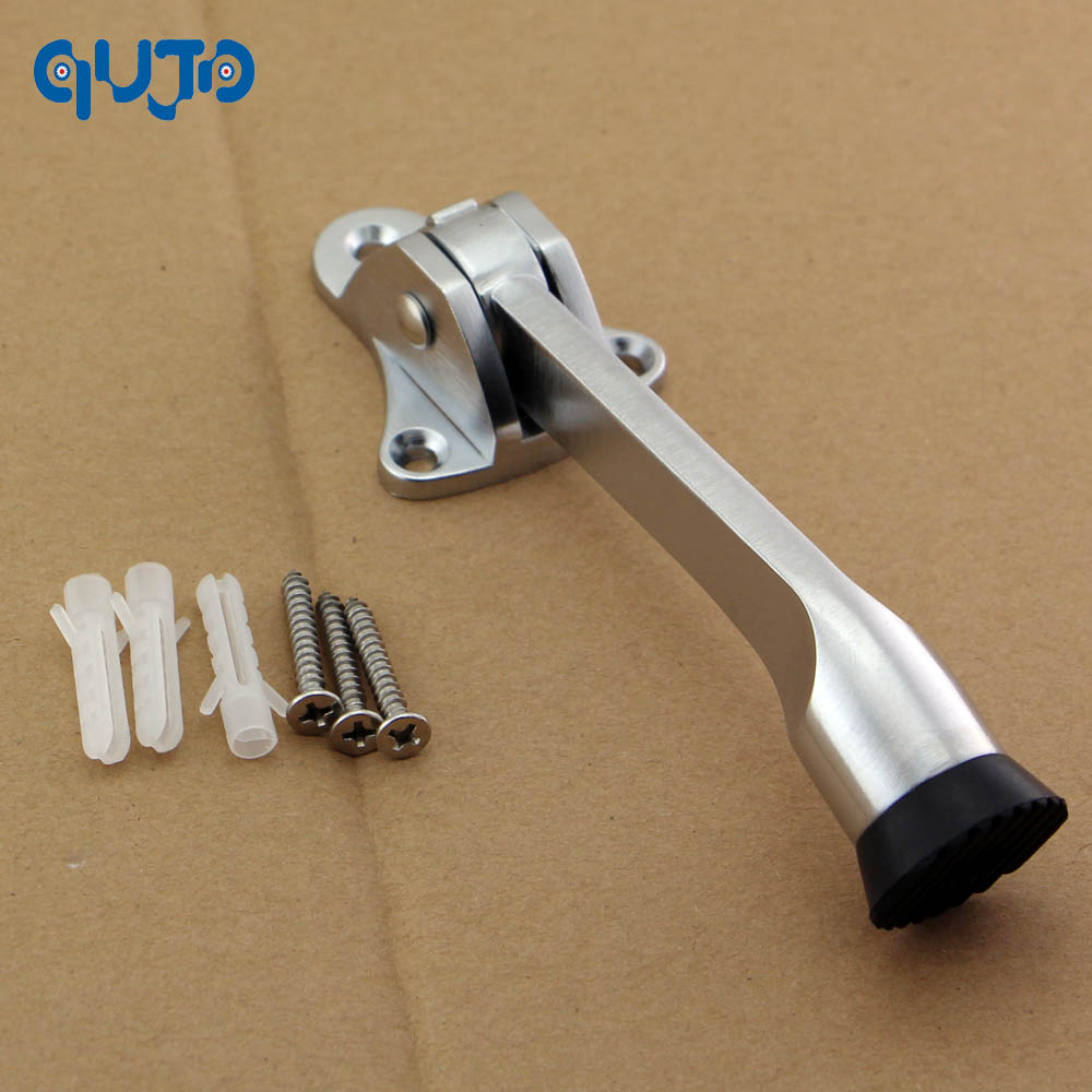 Home Improvement 2 Pcs Door Fittings Zinc Alloy Feet Kickdown Door Stopper Satin Chrome Lever Door Holder Rubber Door Stop Hardware Door Buffer