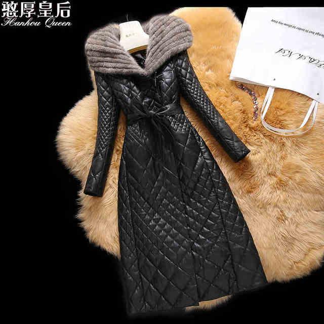 Plus size 4XL Mink Com Capuz De Pele Jaqueta de Inverno 2016 Mulheres jaquetas Casacos Outwear longo da pele de carneiro de couro genuíno acolchoado-algodão casaco