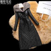 Plus size 4XL Mink Fur Hooded 2016 Winter Jacket Women jackets genuine leather Outwear Coats long sheepskin cotton-padded coat