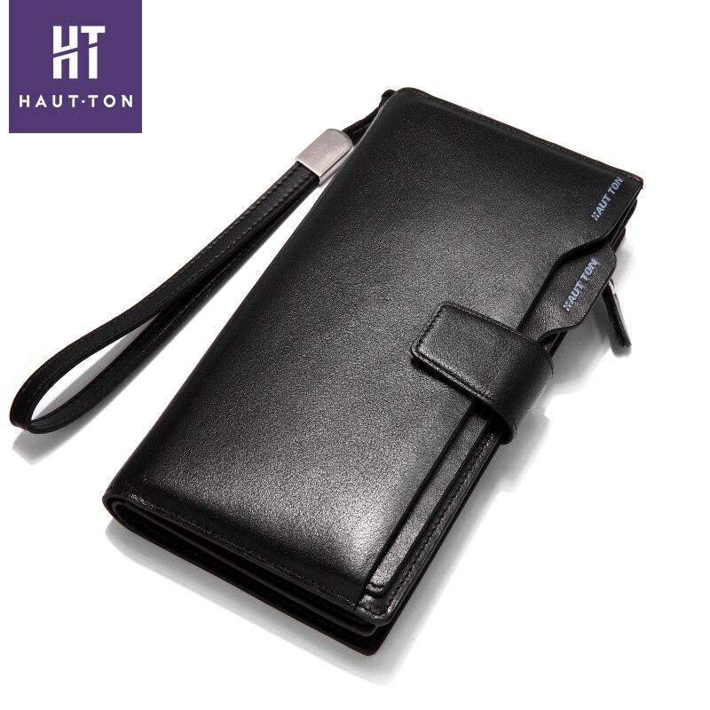 Haut Ton Fashion Luxury Brand Men Wallets Genuine Leather Long Business Male Clutch Wallet Card Holder Zipper Purse