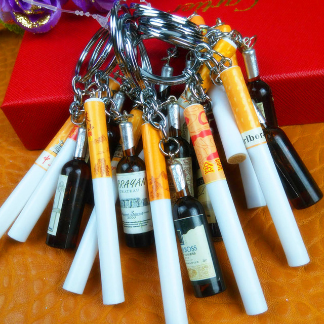 Creative New Woman Men Red Wine Bottle Cigarette Car Keyring Key Ring Keychain Key Chains for Mobile Phone Wedding Party Gift 1
