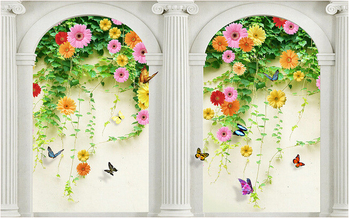 3d wallpaper custom mural non-woven Ou arch Roman column rose 3 d TV setting wall painting photo wallpaper for walls 3d