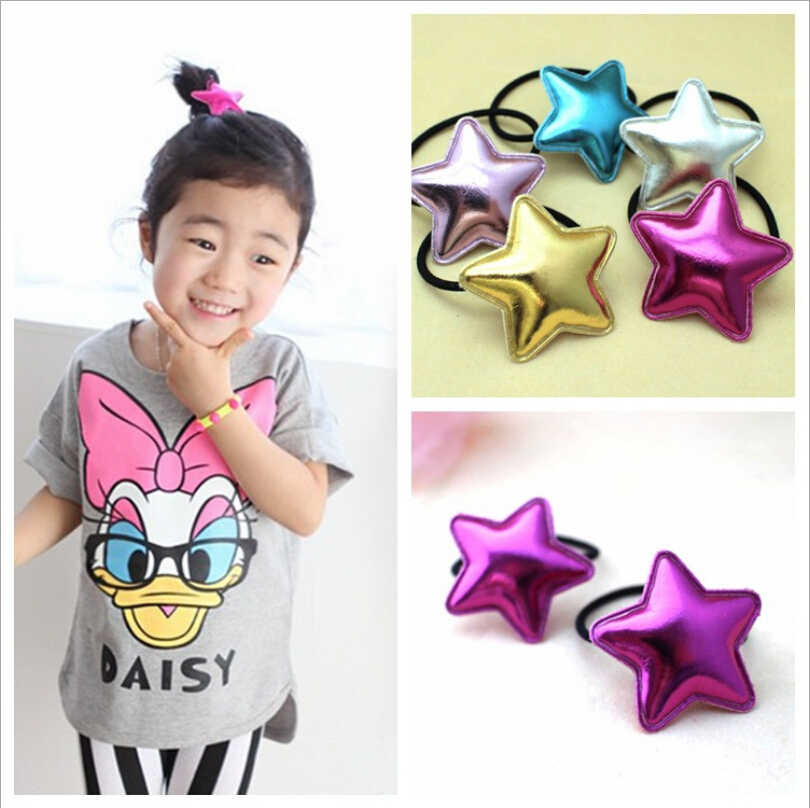 Girls hair tie high quality Pu star hair elastic lovely girls fabrics elastic hair bands charms rubber bands hair accessories