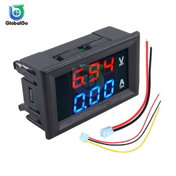 DC/100V/10A Digital Ammeter Voltmeter Blue Red LED Dual Digital Panel Amp Volt Meter Gauge For Car Current Meter brand new 2 in 1 car 12v universal red green dual display led dual digital thermometer temperature meter voltmeter