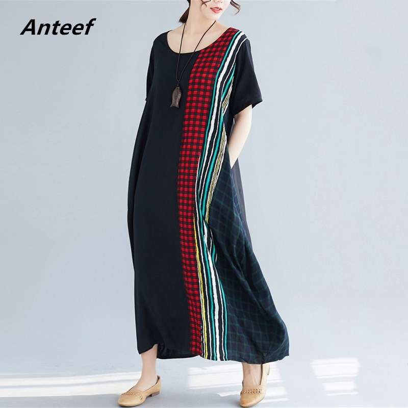 Black Cotton Linen Vintage Stripe Plus Size Women Casual Loose Long Summer Dress Elegant Clothes 2019 Ladies Dresses Sundress