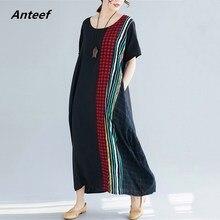 black cotton linen vintage stripe plus size women casual loose long summer dress