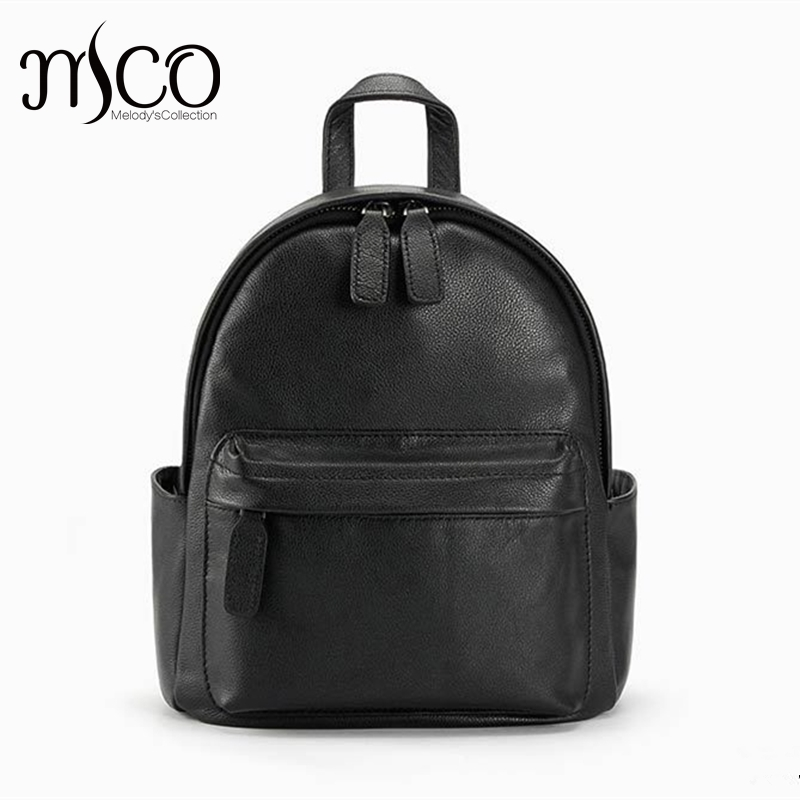 2016New Rucksack Luxury Backpack Youth School Bags For Girls Genuine Leather Black Shoulder Backpacks Women Bag Mochila Feminina